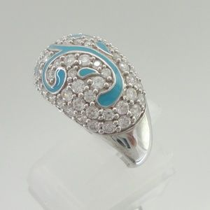 Sterling V. Wieck Blue Enamel ABSOLUTE Pave Ring